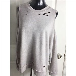 Ten Sixty Sherman Gray Distressed Cold Shoulder